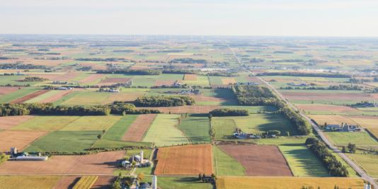 Aerial image of cropland
